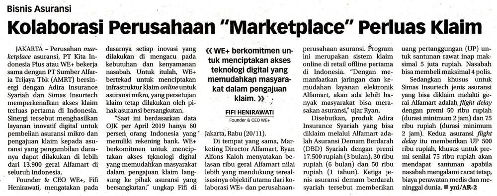 """Bisnis Asuransi: Kolaborasi Perusahaan """"Marketplace"""" Perluas Klaim"""